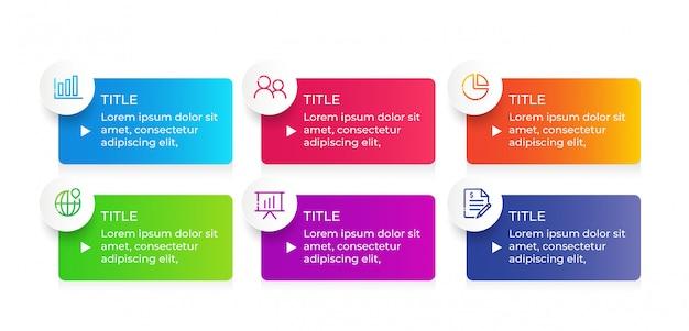 Diseño infográfico vectorial con 6 pasos de opciones