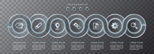 Diseño infográfico de vidrio transparente espiral etiquetas redondas e iconos