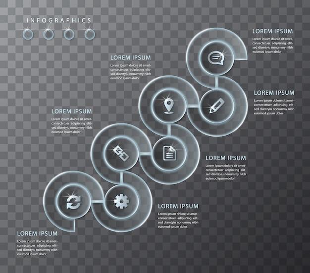Diseño infográfico de vidrio transparente redondo marco en espiral etiquetas e iconos