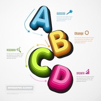 Diseño infographic del elemento de la educación del alfabeto 3d.