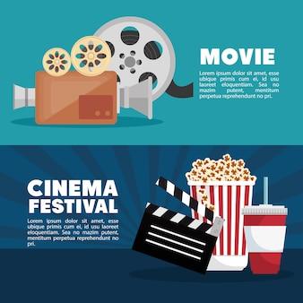 Diseño de información de banner de festival de cine de cine