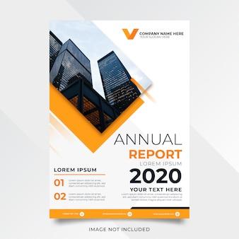 Diseño de informe anual abstracto con forma amarilla