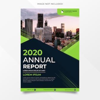 Diseño de informe anual abstracto con forma verde