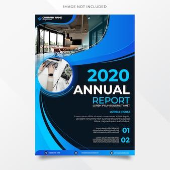 Diseño de informe anual elegante y moderno con forma azul