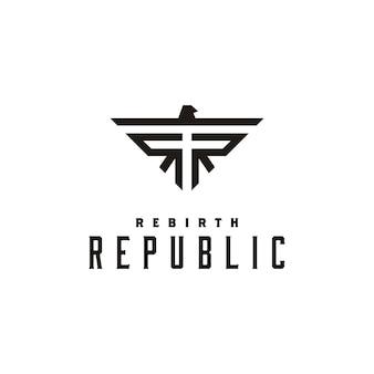 Diseño inicial del logotipo de rr y símbolo de eagle