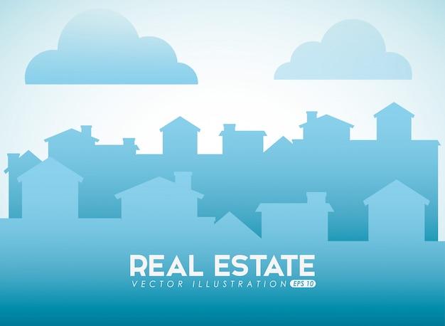 Diseño inmobiliario con silueta de ciudad