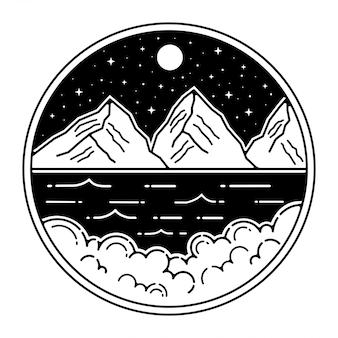 Diseño de insignia al aire libre vintage mountain monoline