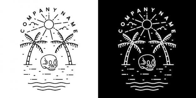 Diseño de insignia al aire libre vintage de verano monoline cráneo