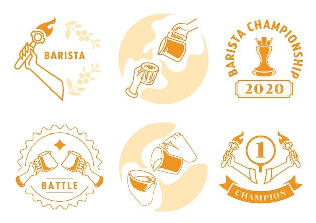 Diseño de insignia de arte latte