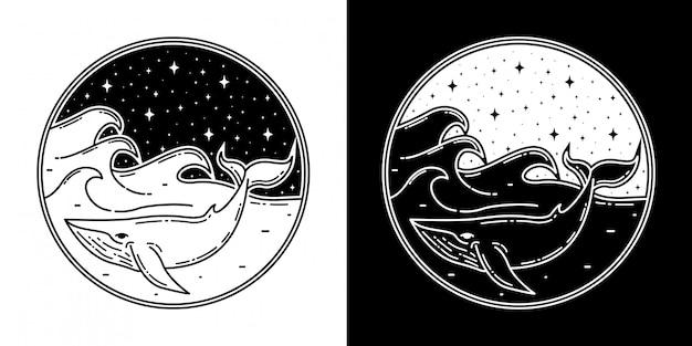 Diseño de insignia de ballena con ola monoline