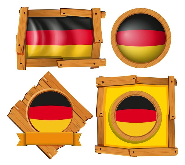 Diseño de insignia para la bandera de alemania en diferentes marcos.