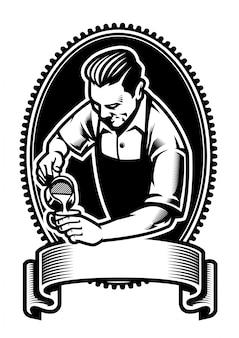 Diseño de la insignia de barista haciendo el arte latte