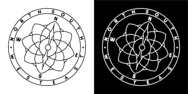 Diseño de insignia de brújula