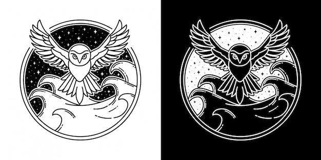 Diseño de insignia de búho en el mar monoline