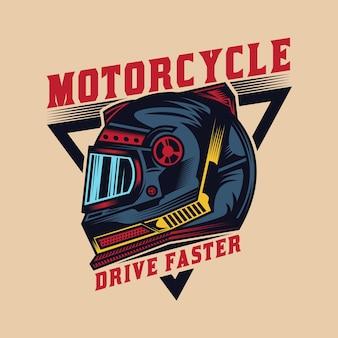 Diseño de insignia de casco de motocicleta personalizado vintage