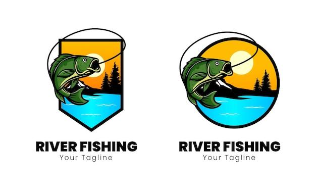 Diseño de la insignia del club de pesca en el río.