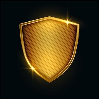Diseño de insignia de escudo de seguridad metálico dorado premium