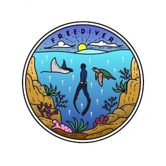 Diseño de insignia de freediver