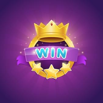 Diseño de la insignia del ganador del juego con corona brillante y premio estrella
