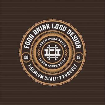 Diseño de insignia de logotipo de comida y bebida para restaurante