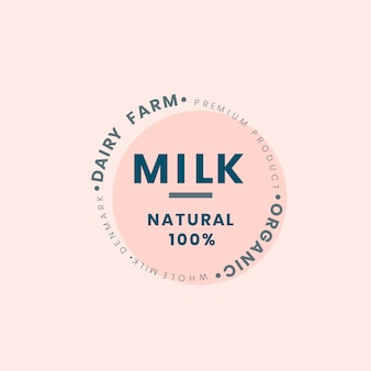 Diseño de la insignia del logotipo de la leche de la granja lechera