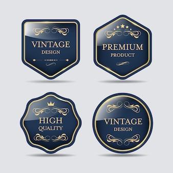 Diseño de insignia de lujo vintage de banner de etiqueta de calidad premium