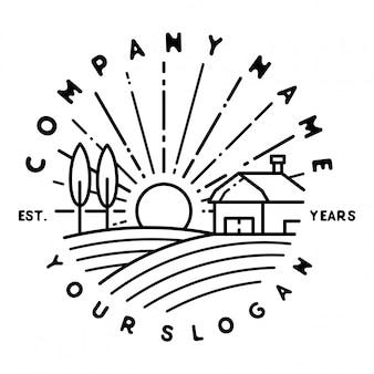 Diseño de insignia monoline al aire libre vintage