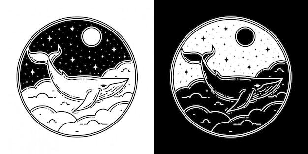 Diseño de insignia monoline de ballena en la nube