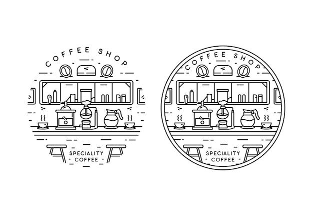 Diseño de insignia monoline de cafetería especializada