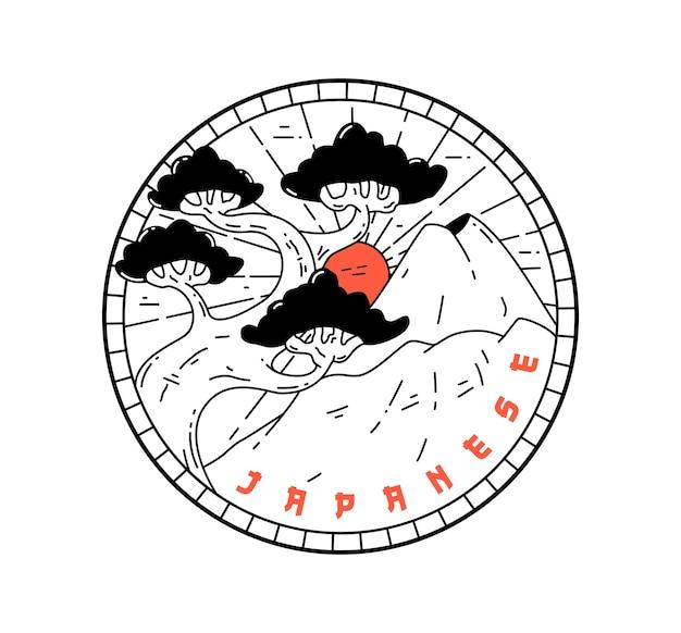 Diseño de insignia monoline tradicional japonesa vintage