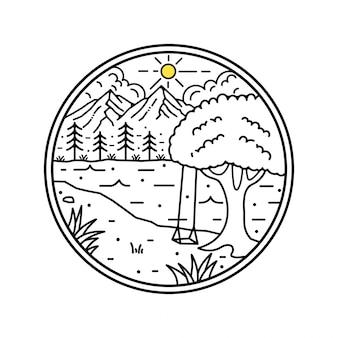 Diseño de insignia de montaña monoline
