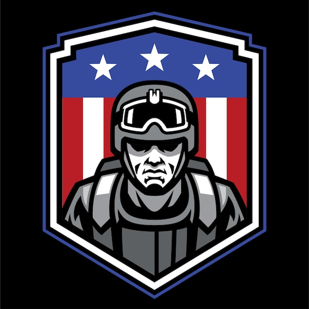 Diseño de insignia de soldado mascota