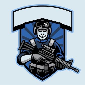 Diseño de insignia de soldado sosteniendo el rifle de asalto.