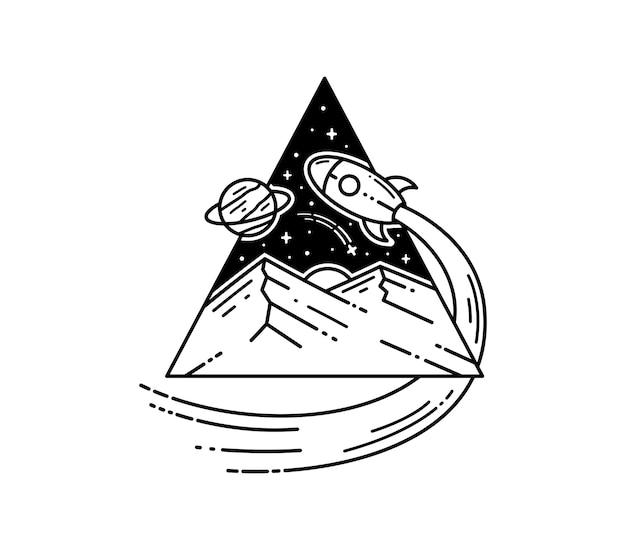 Diseño de insignia de space rocket tatto monoline