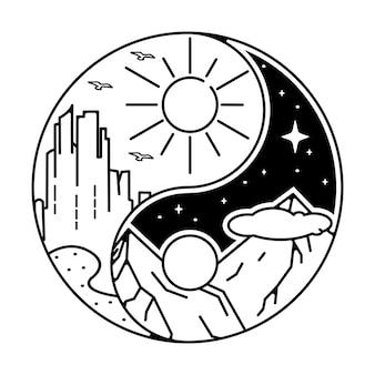 Diseño de insignia tatto monoline al aire libre