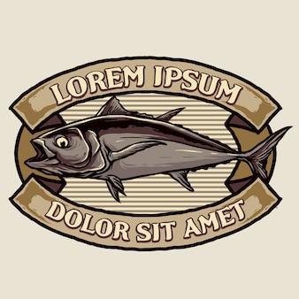 Diseño de insignia vintage de atún