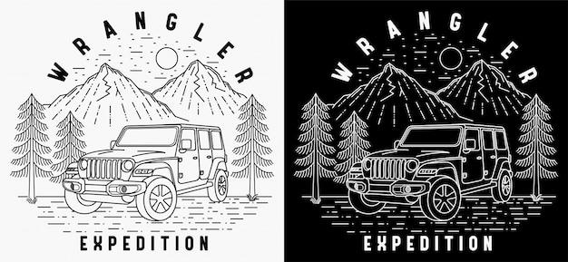 Diseño de insignia vintage de paisaje de expedición wrangler