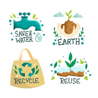 Diseño de insignias ecológicas dibujadas a mano