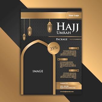 El diseño inspirado en el diseño lujoso y elegante del folleto black gold con el tema de hajj ayuda a que la publicidad se vuelva más atractiva.