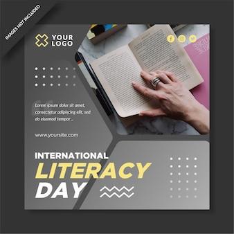 Diseño de instagram del día internacional de la alfabetización.