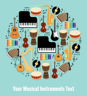 Diseño de instrumentos musicales surtidos en forma redonda con área de texto editable. aislado sobre fondo de cielo azul claro.