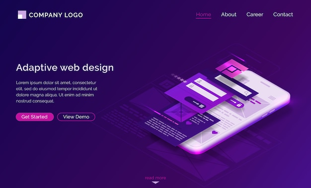 Diseño de interfaz adaptable página de inicio isométrica