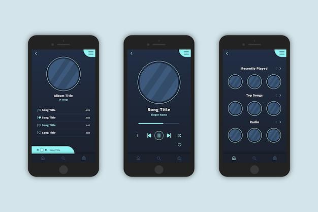 Diseño de la interfaz de la aplicación del reproductor de música.
