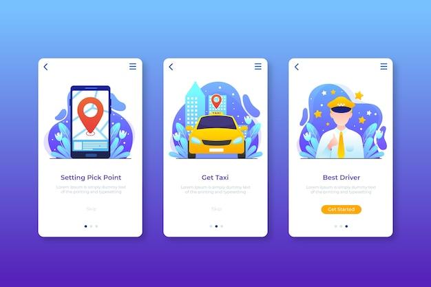 Diseño de interfaz para aplicación de taxi.