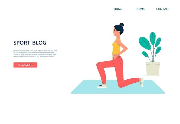 Diseño de interfaz de blog deportivo con mujer bloguera haciendo deporte en transmisión en vivo, plano sobre fondo blanco. medios online y blogs.