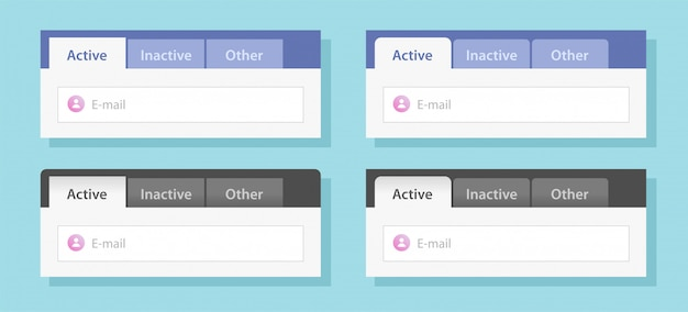 Diseño de interfaz ui de pestañas o conjunto de plantillas de sitio web de menú con pestañas maqueta de ilustración de estilo plano de vector