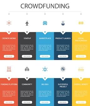 Diseño de interfaz de usuario de 10 opciones de crowdfunding infographic. inicio, lanzamiento de producto, plataforma de financiación, iconos simples de la comunidad