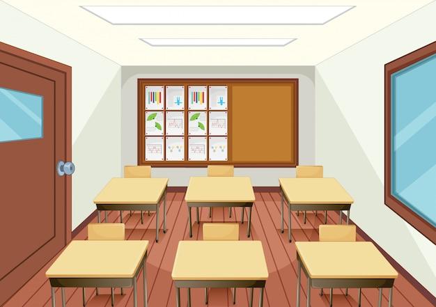 Diseño interior de aula vacía