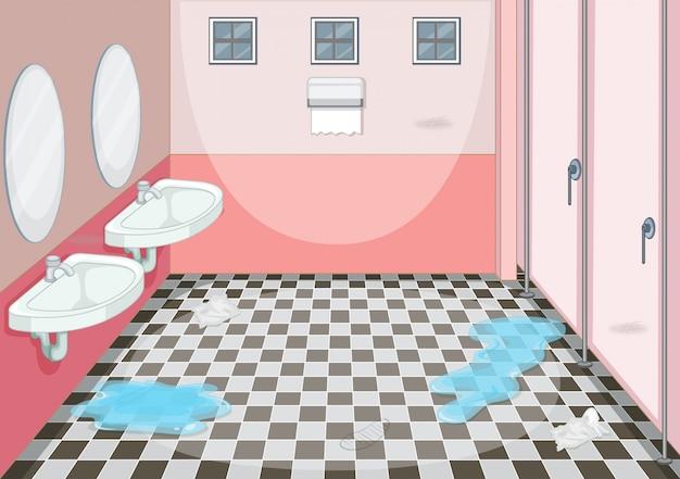 Diseño interior del baño femenino.