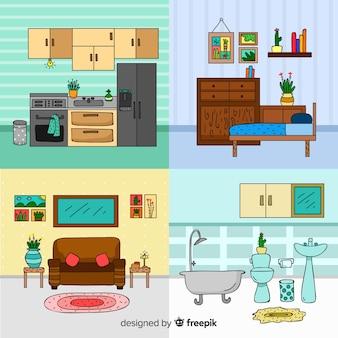 Diseño de interior de casa adorable dibujado a mano